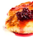 Cheese pancakes. With raspberry jam on white plate Stock Photography