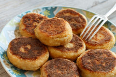 Cheese pancakes close up Royalty Free Stock Images