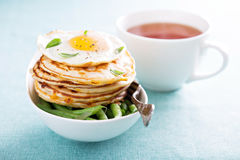Cheese pancakes with green beans and egg Royalty Free Stock Photography