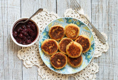Cheese pancakes with jam Royalty Free Stock Images