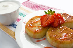 Cheese pancakes with strawberry Royalty Free Stock Image