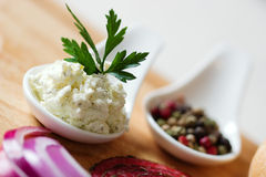 Cheese with parsley Royalty Free Stock Image