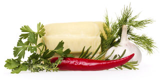 Cheese and parsley, dill, thyme Stock Photos