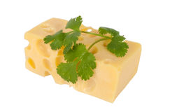 Cheese with parsley leaf, isolated on white Royalty Free Stock Images