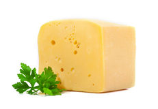 Cheese and parsley leaf. Royalty Free Stock Photography
