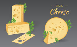 Cheese with parsley. Vector illustration. Cheese with parsley. Milk product. Set of different pieces of cheese. Food collection Stock Photos