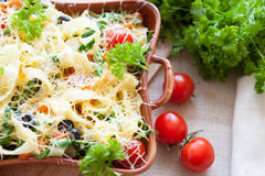 Cheese pasta with greens and vegetables Stock Images