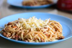 Cheese on pasta with meat, pasta on a blue plate royalty free stock image