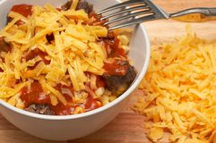 Cheese pasta with mince and tomato sauce Royalty Free Stock Images