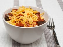Cheese pasta with mince and tomato sauce Royalty Free Stock Photo