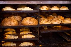 Cheese pastry round buns, bread, croissants stock photos