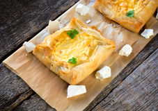 Cheese pastry on the table Stock Photos