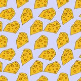 Cheese pattern. hand drawn illustration. Bright cartoon illustration for menu design, fabric and wallpaper. Cheese seamless pattern. hand drawn illustration royalty free illustration