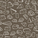 Cheese pattern. Seamless background with hand drawn different cheese.. Vector illustration Stock Images