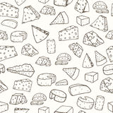 Cheese pattern. Seamless background with hand drawn different cheese. Vector illustration Royalty Free Stock Image