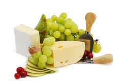 Cheese,pear and grape Stock Images