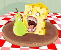 Cheese with pear. A slice of cheese going to eat a scared pear