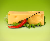 Cheese with pepper on green Stock Images