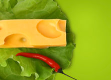 Cheese with pepper on green Stock Image