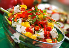 Cheese and pepperoni salad Royalty Free Stock Images