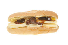 Cheese and pickle baguette. Isolated on white Royalty Free Stock Photography