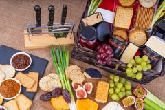 Cheese Pickle and Crackers Hamper royalty free stock photo