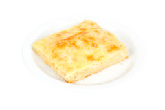 Cheese pie. Freshly baked piece of cheese pie isolated on a white background stock photography