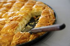 Cheese pie close up pieces. Traditional greek Cheese pie zoom in Royalty Free Stock Image