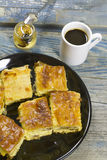 Cheese pie and coffee Stock Photos