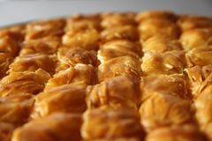 Cheese pie in detail. Traditional greek Cheese pie Filo Pastry Royalty Free Stock Photography