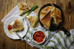 Cheese pie. Homemade Cheese pie on wooden board stock photos