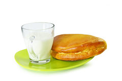Cheese pie and milk Stock Photos