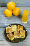 Cheese pie and orange juice Stock Image
