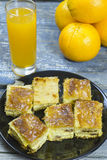 Cheese pie and orange juice Royalty Free Stock Photography