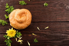 Cheese pie on the table. Fresh cheese pie on the table royalty free stock image