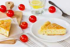 Cheese pie in a white plate Royalty Free Stock Images