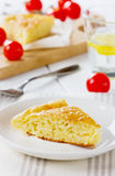 Cheese pie on a wooden table Stock Images