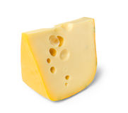 Cheese piece edam. With holes stock image