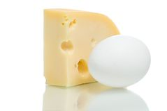 Cheese piece and egg Stock Image