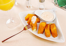Cheese pieces fried in breadcrumbs Royalty Free Stock Photography
