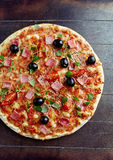 Cheese pizza with cherry tomatoes and ham Royalty Free Stock Photo