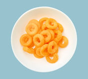 Cheese Pizza Chips in white bowl Royalty Free Stock Images