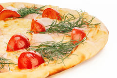 Cheese pizza with tomatoes Royalty Free Stock Photography