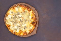 Cheese pizza top view. With copy space Stock Images