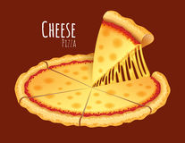 Cheese Pizza. A vector illustration of a cooked Cheese Pizza Royalty Free Stock Images