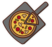 Cheese Pizza. Whole cheese pizza with vegetables royalty free illustration