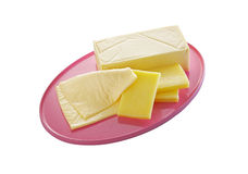 Cheese in plastic tray Royalty Free Stock Photos