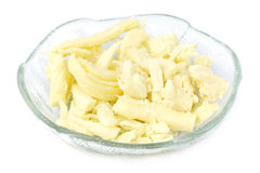 Cheese plate. Yellow cheese plate on white background Stock Photo