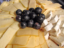 Cheese plate. Plate with all kind of cheeses Royalty Free Stock Photography