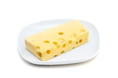 Cheese on plate. Isolated on white Royalty Free Stock Images